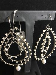 Fresh Water Pearl And S/s 3 Layer Tear Drop Hoop Earrings From China Pearl Imports