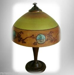 Jefferson Vintage Antique Table Lamp Reverse Hand Painted Shade