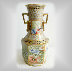 Nippon Hand Painted Vintage Vase With Heavy Gold And Beading