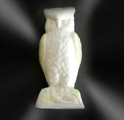 Belleek Ireland Owl Figurine In White And Pale Yellow