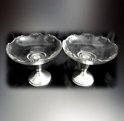 Pair Of Raimond Compotes With Glass Top And Sterling Silver Base