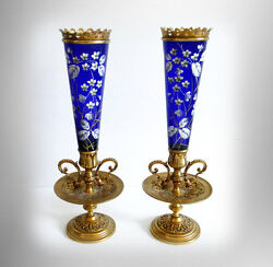 Baccarat Pair Cobalt Blue Art Glass Vases With Hp Floral