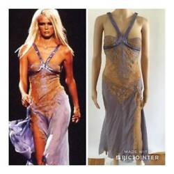 VERSACE SEXY CHAINMAIL SHEER LACE SIDES AND BACK DRESS SS/2003 SIZE IT 40