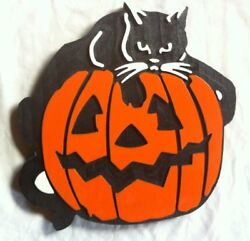 Cat and Pumpkin 3D routed carved bar pub wood sign Custom