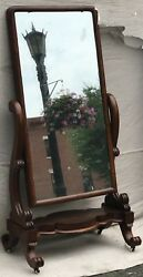 19th C. Mahogany French Empire / Classical Antique Cheval Dressing Mirror