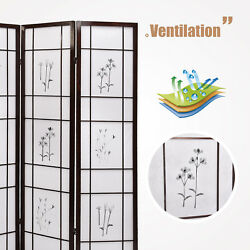 Kenwell 4 Panel Folding Shoji Room Screen Divider with Flowered Pattern Privacy