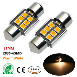 2PCS Warm White 31MM High Power 2835-6SMD LED Lights Bulb for Interior Map Dome