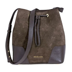 Michael Kors Cary Medium Suede and Leather Bucket Bag - Coffee