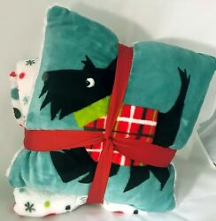 Cannon Microfleece SCOTTIE DOG PILLOW and Throw SET -Scottish Terrier- NWT