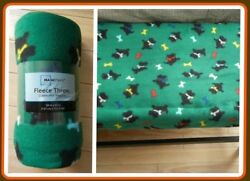 Green Throw with Scottie Dogs (Scottish Terrier) NEW with Tags