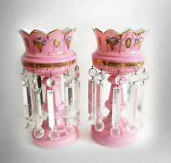 Pair Large Pink Cased Glass Mantel Lusters With Heavy Clear Prisms