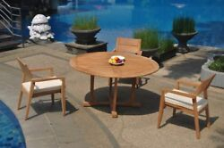 A-grade Teak 4pc Dining 60 Round Table 3 Vellore Stacking Arm Chair Set Outdoor
