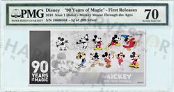 2018 Silver Mickey Mouse 90th Anniversary - 5g Coin Note - Pmg 70 First Releases