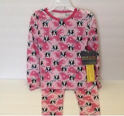 Girls 2 piece Pajama Set Sz 4 Shirt Pants Boston Terrier Dog New