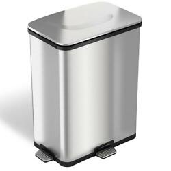Trash Can Recycle Bin 13-Gallons Fingerprint-Proof Stainless Steel Step-Sensor