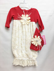 New Red Cream Lace Newborn 1st Christmas Gown Outfit And Hat Infant Baby Girl 0-3m