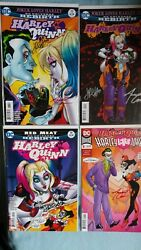 Harley Quinn Comic Lot Signed Amanda And Jimmy Raw Covers And Variants 4 Total