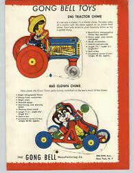 1949 Paper Ad 2 Sided Gong Bell Pull Toys Tractor Chime Clown Bear Dog