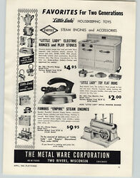 1949 Paper Ad Empire Toys Steam Engines Little Lady Electric Range Stove Oven