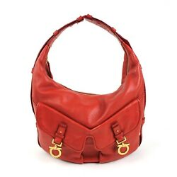 Salvatore Ferragamo Womens Red Leather Hobo Shoulder Bag Zippered Purse w Pocket