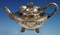 John Emes English Sterling Silver Tea Pot With Repoussed Flowers C. 1806 2716
