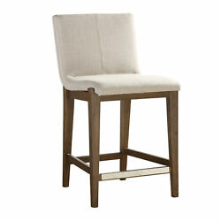 Tall Curved Back Plush Exposed Wood Frame Counter Stool | 26 Mid Century Modern