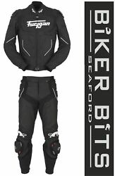 Furygan Raptor Black/white Leather Motorbike Sports Jacket And Trousers Ce As Ppe