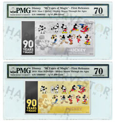 Mickey Mouse 90th Anniversary - Silver And Gold Coin Note - Pmg 70 First Releases