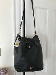 Coach Leather Turn Lock Tie Bucket Bag