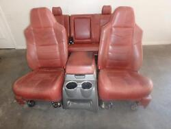 08 09 10 FORD F250 F350 FRONT REAR SEAT CONSOLE RED LEATHER KING RANCH HEATED