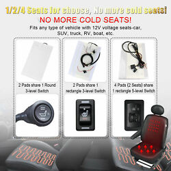 Carbon Fiber Universal Heated Seat Heater Kit Car Cushion Warmer - Round Switch!