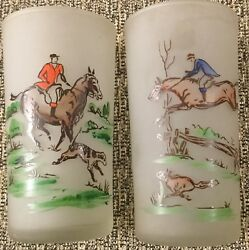 Fox Hunt Hunting Set 2 Frosted High Ball Glasses