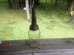 1926 Vintage The Master Mfg Co Motor Oil Bottle And Metal Spout Litchfield Ill.