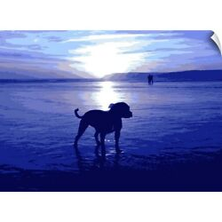 Wall Decal entitled Staffordshire Bull Terrier on Beach in Blue