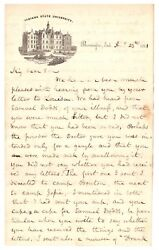 Rare Important Letter From Indiana University Bloomington Founder Re/ Civil War