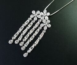 8k White Gold Baguette Round Diamond Flower Necklace 1.82ct Gh Vs Si 16 Inch