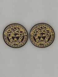 2PC BlackGold Vintage Medusa Face Logo- Iron on Embroidered Patch US SELLER!!