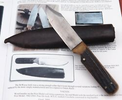 Ultra Rare Vtg Unmarked Early 1900and039s Marbles Msa Dall Deweese Stag Hunting Knife