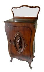 Antique Wood Art Nouveau Record Or Gramophone Cabinet -  Hand Carved Woman