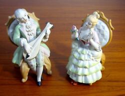 Victorian Man And Woman Ceramic Figurines Andrea S Of Occupied Japan Porcelain
