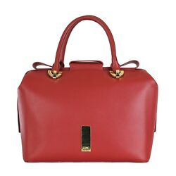 Zac Posen Womens Red Leather Claire Barrel Satchel Bow Shoulder Hand Bag Purse