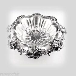 Woodside Sterling Co Antique Sterling Silver Lobed Bowl With Orchids