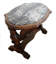 Wood Carved Table With Fitted Marble Top - Eagles With Spread Wings