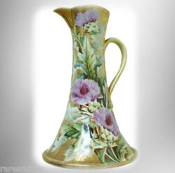 Nippon Large Hand Painted Ewer - Flowers With Heavy Gold Beading