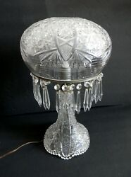 Crystal Cut Dome And Base Lamp With Hanging Prisms