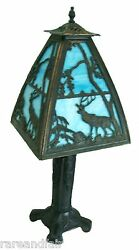 Vintage Table Lamp With Blue Slag Glass And Stag Design