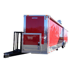 Concession Trailer 8.5' x 28' Red - BBQ Smoker Event Food Catering