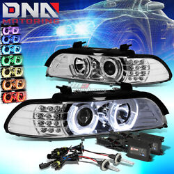 CHROME RGB COLOR RING HALO PROJECTOR HEADLIGHT+6000K SLIM HID FIT 96-03 BMW E39