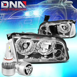 Chrome Housing Headlight+clear Corner+white Led 9006 Hid W/fan Fit 06-10 Charger
