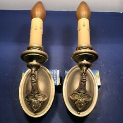 Pair Early Electric Candle Stick Wall Sconces With Vintage Patina 56f